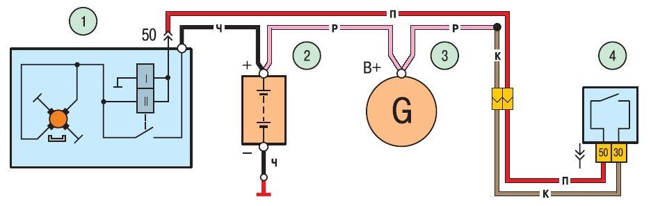 Схема соединений стартера
