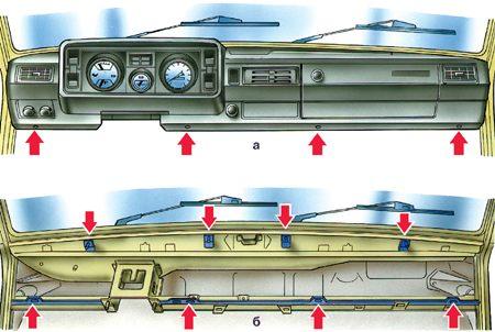 Крепление торпеды Ваз 2105