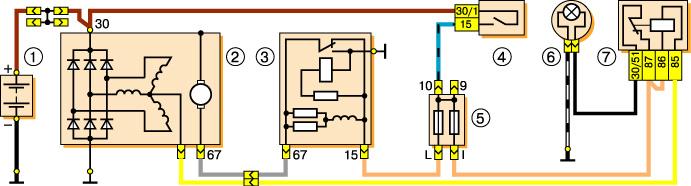 Схема зарядки Ваз 2106: 1