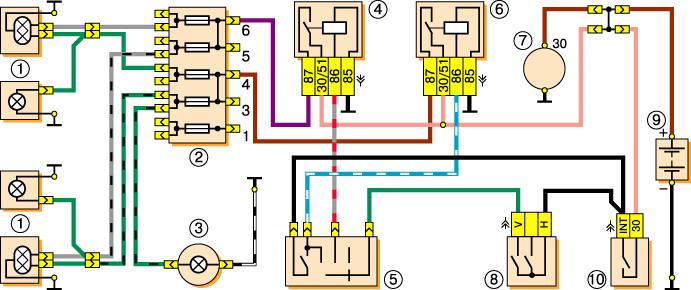 Электросхема включения фар Ваз