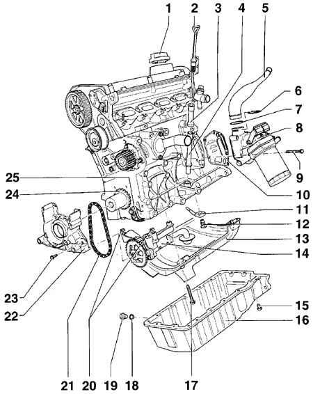 Схема двигателя гольф 4